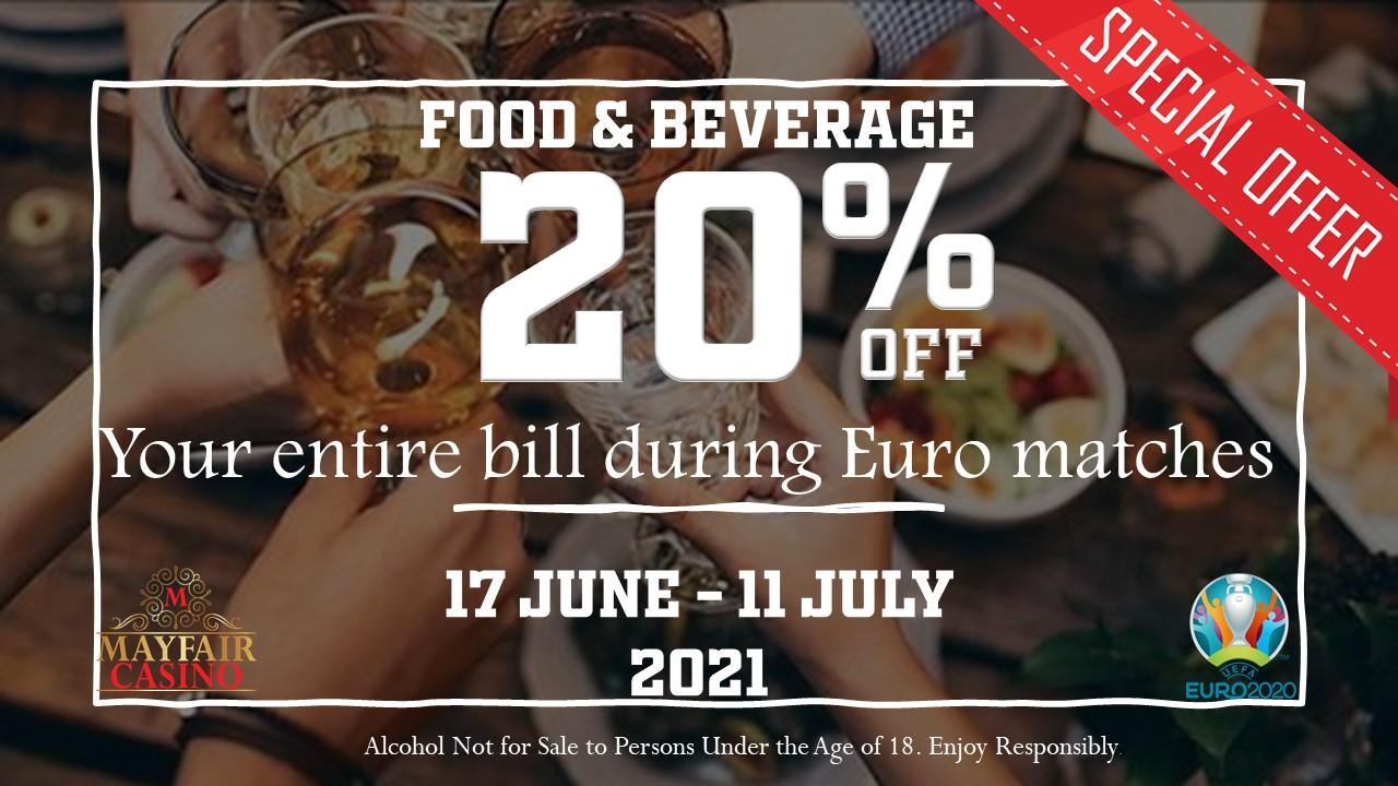 20% off Food & Beverage during Euro 2021